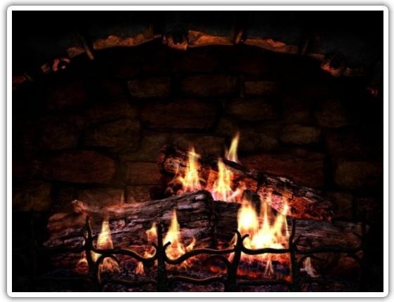 Огонь в камине заставка 2